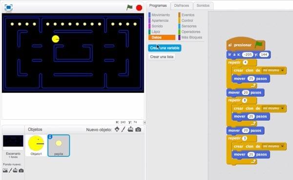 Clonar pepitas de Pacman en Scratch