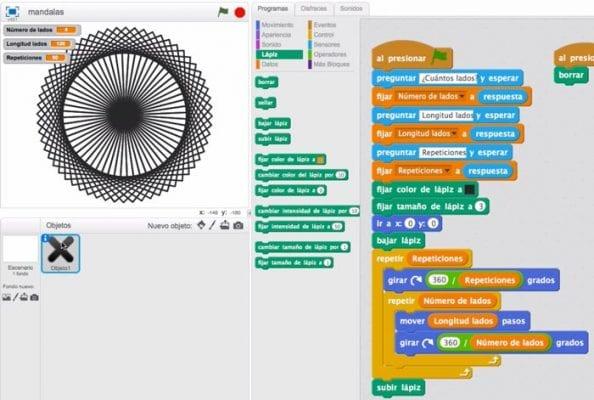 Mandala 4 lados repetición en Scratch