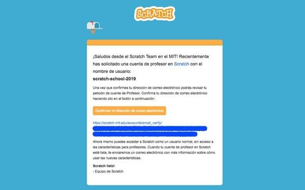 mail de verificación cuenta profesores